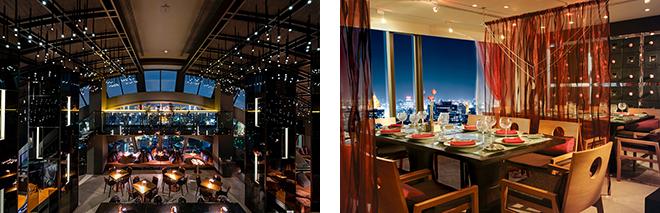 (左)1階下、60階に位置する「Vertigo Too(ヴァーティゴ・ツー)」。快適な屋内空間で、バンコクの夜景を楽しめる。 (右)シグネチャー・ダイニングの「Saffron(サフロン)」。洗練された本場のタイ料理を楽しむことができる。