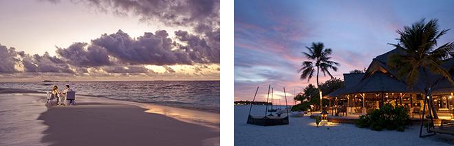 (左)暮れなずむ二人だけのサンドバンクで、最高にロマンティックなディナーを。 (右)孤島ならではの夜を楽しめるメインバー。ライトアップが美しい。