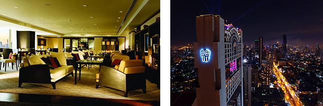 (左)隅々まで洗練されたアートのようなラウンジ。 (右)新年を迎えた時のバンヤンツリー・バンコク。煌めく宝石のように贅沢なシティリゾートだ。