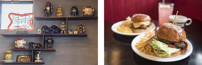 (左)レトロなおもちゃが懐かしい。(右)アメリカンサイズのジューシーな福生バーガーが人気。