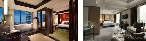 (左)バスルームは華美すぎず、落ち着ける空間。バンコクの街を眺めながらの開放感こそいちばん幸福なひとときだ。 (右)贅沢すぎる広さと豪華さのプレジデンシャルスイートのバスルーム。