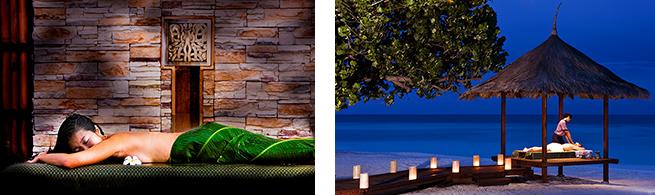 バンヤンツリー・スパ・ヴァビンファル。モルディブ産ココナッツのバームや、天然素材によるトリートメントは、まさに楽園の島に相応しい独自のメニュー。潮騒と甘いオイルの香りが心地よい眠りを誘う。