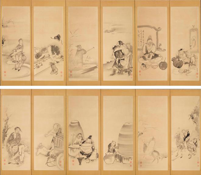 曾我蕭白「飲中八仙図屏風」(六曲一双)江戸時代中期 岡田美術館蔵