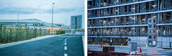 移転先問題で揺れている豊洲市場の水産卸売場棟(左)と青果棟(右)。