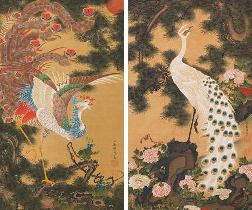 伊藤若冲「孔雀鳳凰図」(二幅) 宝暦5年(1755)頃 岡田美術館蔵