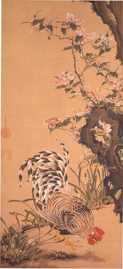 伊藤若冲「花卉雄鶏図」江戸時代中期(18世紀中頃)