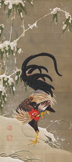 伊藤若冲「雪中雄鶏図」江戸時代中期(18世紀後半)