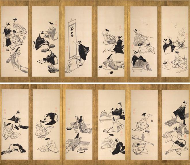 伊藤若冲「三十六歌仙図屏風」(6曲1双)江戸時代 寛政8年(1796)