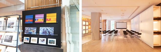 (左)CDやDVDを探すような感覚でアートフォトを購入できる、これまでにはない新しいスタイル。 (右)2階のイベントスペースでは定期的にワークショップやイベントなどが開かれる。