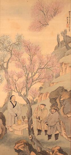 与謝蕪村「桃林結義図」江戸時代 明和8年(1771) 岡田美術館蔵