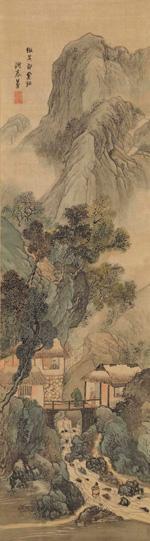 与謝蕪村「溪屋訪友図」江戸時代中期(18世紀後半)