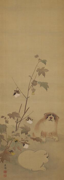 円山応挙「子犬に錦」 江戸時代中期 岡田美術館蔵