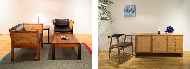 日本でも人気の高いハンス J. ウェグナーの家具や、魅力的な北欧のヴィンテージアイテムが展示・販売されている。
