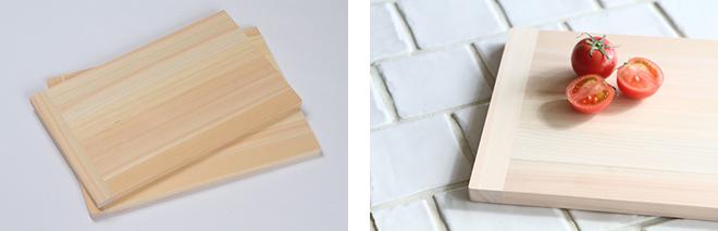 軽量型まな板 価格:2160円(S)、2484円(M)、3024円(L)すべて税込 四万十ひのきの品質のよい部分を集合した集成材を使用したまな板。軽量で薄いのが特長。