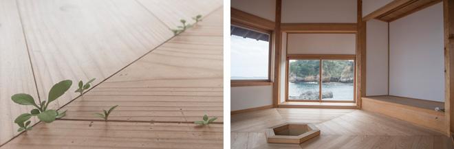 「雑草」須田悦弘 茶室を兼ねた六角堂には、精巧な彫刻の雑草が板の間から生えています(左)。