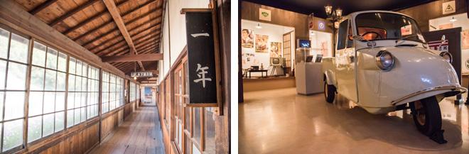 (左)郷愁を感じる木造校舎や、(右)〝日本映画の黄金期〝1950年代を再現した展示を鑑賞できます。