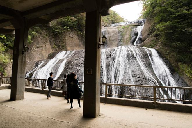 日本3名瀑・袋田の滝は高さ120m・幅73m。