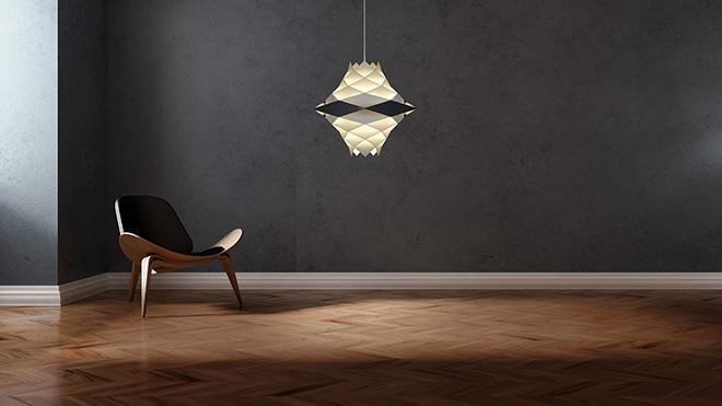 居室をやさしい光で満たすライティングが特徴の「H・Fシリーズ」のペンダントライト。