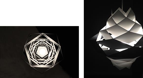 大小のひし形が連続して形つくられたシャープなフォルムにより、光の彫刻のような美しい陰影が空間に浮かび上がる。スチールシェードは溶接でつなぎ合わせられ、丁寧な手仕事によって当時のデザインが再現されている。