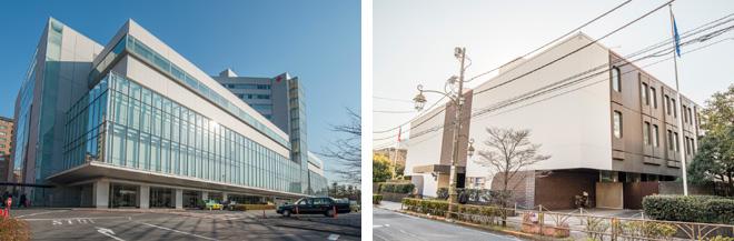 (左)日赤医療センター。日本赤十字社唯一の直轄病院として有名。(右)大使館も多くインターナショナルな雰囲気の広尾。写真はチェコ共和国大使館。