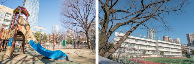 笄(こうがい)公園や笄(こうがい)小学校からも六本木ヒルズを臨むことができて、都心らしさを感じます。