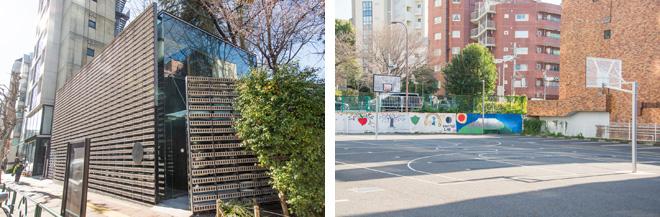 (左)ミシュラン☆☆を獲得した都内屈指の人気日本料理店「分とく山」。建物は隈研吾氏の設計。(右)ビルの谷間にバスケットボール・コートを発見。
