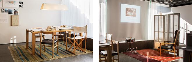 (左)事務所の打ち合わせテーブル、イス、製図台、キリム(カーペット)を再現。 (右)堀部氏の「原風景」を示すスライドを映し出したコーナー。© Nacása & Partners Inc.