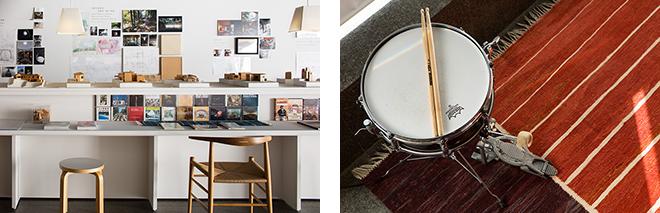 (左)堀部氏が好きなCDやDVDも展示。(右)愛用のスネアドラムも置かれている。© Nacása & Partners Inc.