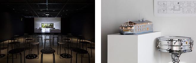 (左)ドキュメンタリー映画「堀部安嗣 建築の鼓動」を上映。(右)クルーズ船のプロジェクトも展示。© Nacása & Partners Inc.