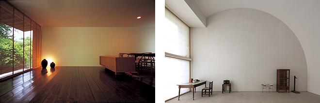 (左)「南の家」(鹿児島県、1995年) ©堀部安嗣。(右)「ある町医者の記念館」(鹿児島県、1995年)©堀部安嗣