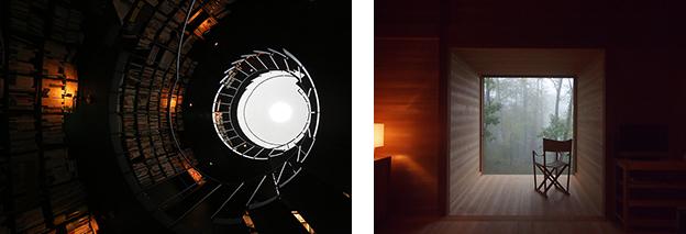 (左)「阿佐ヶ谷の書庫」(東京都、2013年) ©堀部安嗣。(右)「蓼科の家」(長野県、2010年)©堀部安嗣