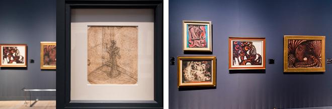 (左)少女時代の鉛筆画の作品「無題」(1939)なども展示。(右)1950年代の「残骸」(1950)などの作品群。