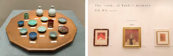 村越画廊はプレゼンテーションの妙が楽しめる展示。平等院鳳凰堂の一部を描いた桝本佳子氏の皿は、鳳凰堂の立体作品のなかにディスプレイされていた。