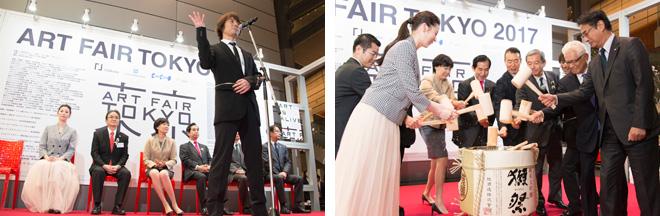 オープニングセレモニーには内閣総理大臣夫人・安倍昭恵さんらが列席。列席者全員による恒例の鏡開き(右)。