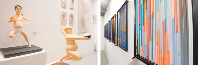 (左)ニワタカユキや野原邦彦の作品を出品したgallery UG。(右)スイス人のペ・ランの作品は、カラフルなテープがローラーでグルグルと回って表情を変える。名古屋のSTANDING PINEの出品。