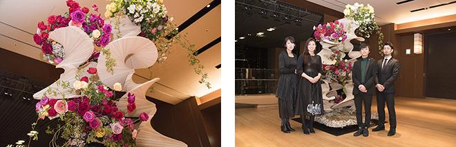 (左)最優秀作品賞は、フランス「アート・フローラル国際コンクール」日本代表として出場。 (右)『Blooming』/サンジョルディフラワーズ ザ・デコレーター(右から山口貴史さん、西村和明さん、福﨑ちづるさん、廣瀬美記さん)