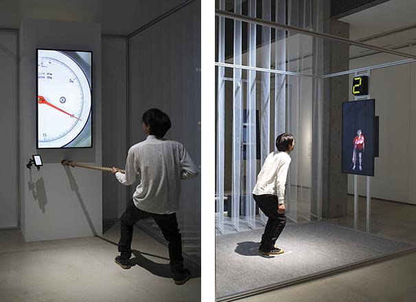 (左)「身体コントロール:グレーディング」、(右)「身体コントロール:タイミング」時里 充、劉 功眞(LIUKOBO) アスリートがどのように「力の調整」「タイミング」「空間や距離の把握」をコントロールしているのかを、自身の身体を通して体験できる。