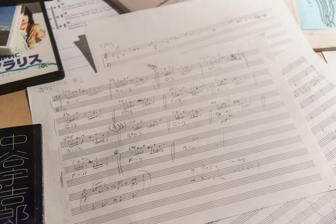 2階の「drowing」では、新作制作の過程で坂本氏がインスピレーションを受けた譜面などを展示。