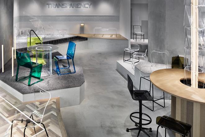 アクリル樹脂素材をベースにした家具ブランドが、京橋にショールーム「TRANSPARENCY and more」をオープン。