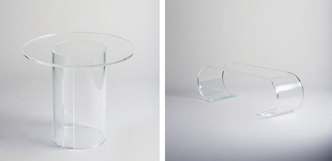 (左)PUDDLE 価格::¥260,000(税別) サイズ:W 900・D 900・H 770・baseφ 455・tabletop t20 base t25 (右)GHOST 価格:¥180,000( 税別) サイズ:W 1030・D 580・H 730・t 25 Photo:Ikunori Yamamoto