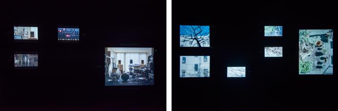 iPadやiPhoneにイメージが映し出され、それぞれの空間にある環境音と、アルバムの音素材がミックスされている。