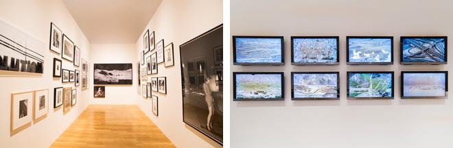 (左)「Room 9」は「白と黒」をテーマとした写真作品を展示。 (右)壁面に展示されているのは、写真家・松江泰治の作品。