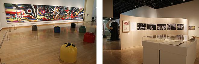 建築にかかわりのある岡本太郎の壁画やモニュメント、貴重な写真、資料などを数多く展示。