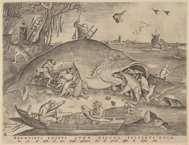 「大きな魚は小さな魚を食う」 彫版:ピーテル・ファン・デル・ヘイデン 1557年 Museum BVB, Rotterdam, the Netherlands