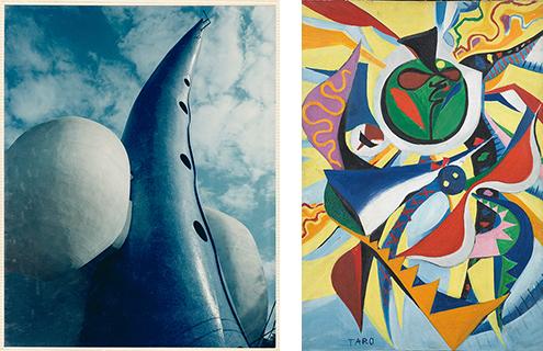 (左)岡本太郎設計「マミ会館」(1968年)。(右)岡本太郎《日の壁》原画(1956年)、岡本太郎記念館蔵。