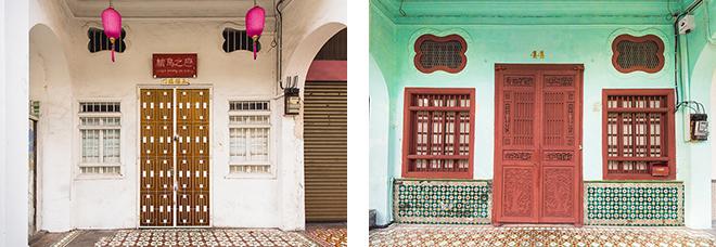 パステルカラーの壁にタイルとアーチが特徴で、カラフルに並んでいます。