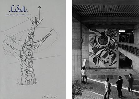(左)岡本太郎《太陽の塔ドローイング》(1967年)、岡本太郎記念館蔵。(右)旧東京都庁「日の壁」(1957年)。