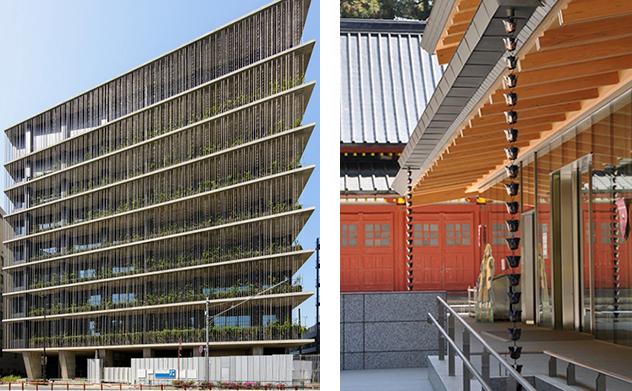 (左)渋谷区のコープ共済プラザ。9階建てビルのファサードの全面に設えられた鎖樋。 (右)日光東照宮の宝物館にも採用され、和の建物に鎖樋がアクセントとなっている。