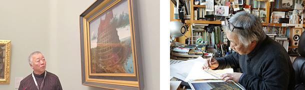 (左)2016年11月28日、ボイマンス美術館を訪れた大友さん。 (右)帰国後、さっそく制作を手がける大友さん。内部構造を塔の外側と見比べて想像しながら、細かく描いていく。