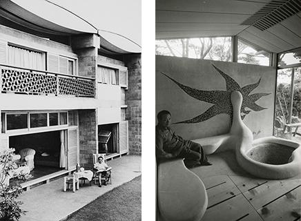 (左)岡本太郎アトリエ兼住居(坂倉準三建築研究所・1954年)。 (右)デッブス邸茶室(レーモンド設計事務所)岡本太郎による浴室構成( 1962年)。